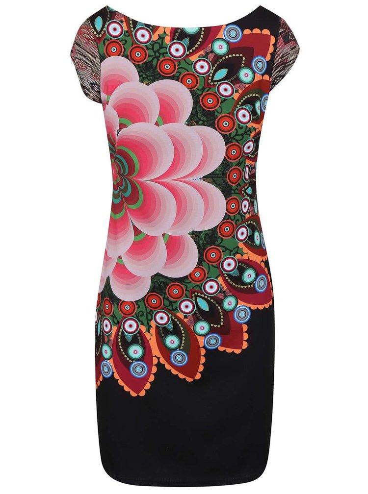 Čierne šaty s farebným kvetom Desigual Cipriano