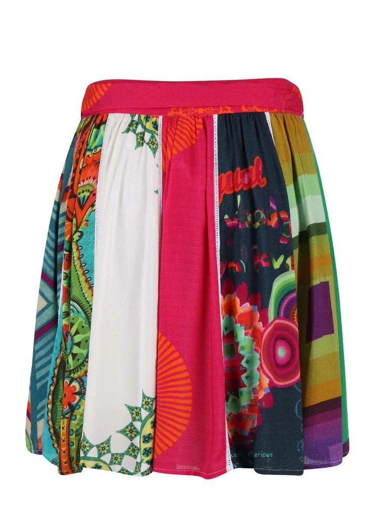 Červená vzorovaná sukně Desigual Yami