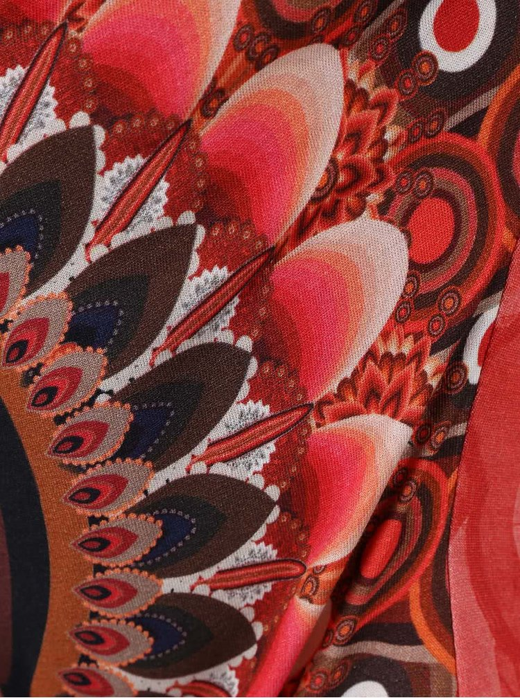 Červená dlhšia vzorovaná tunika Desigual Coral