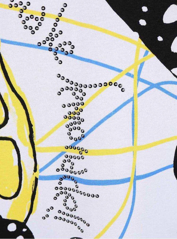 Žlté tričko so vzormi a výstrihom na chrbte Desigual Kira