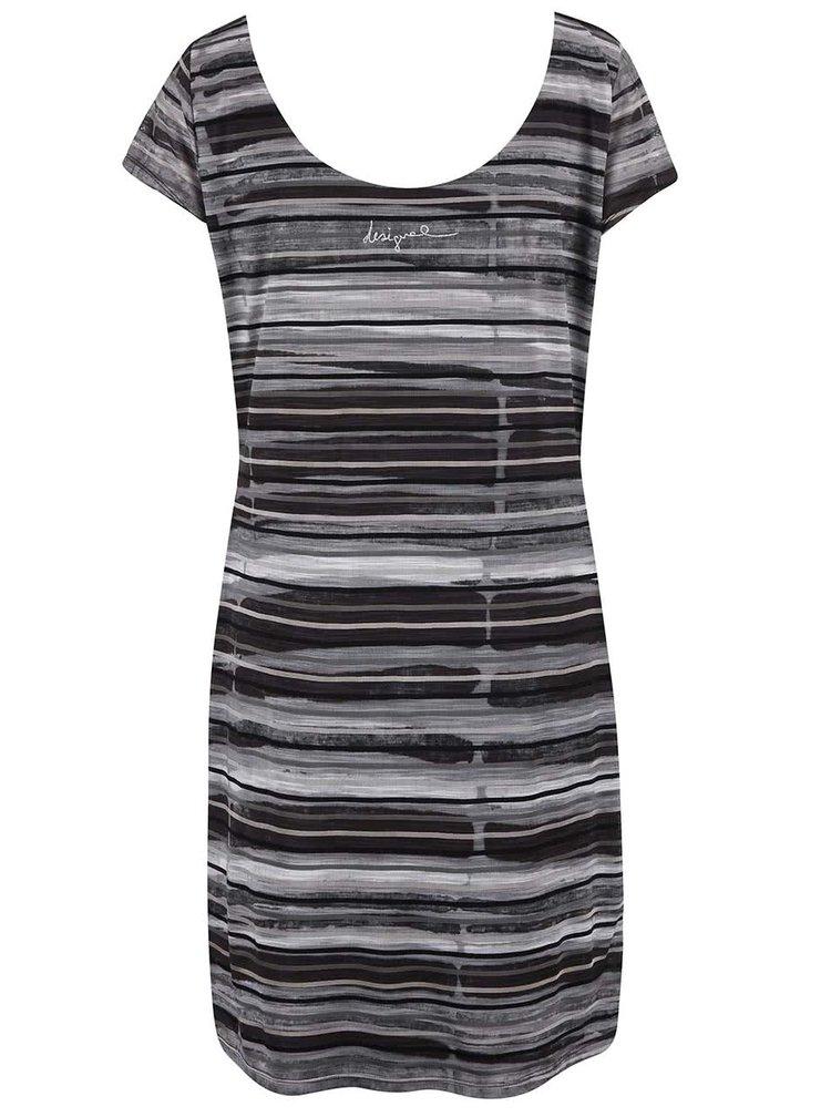 Bílo-černé šaty s barevnými vzory Desigual Ultra