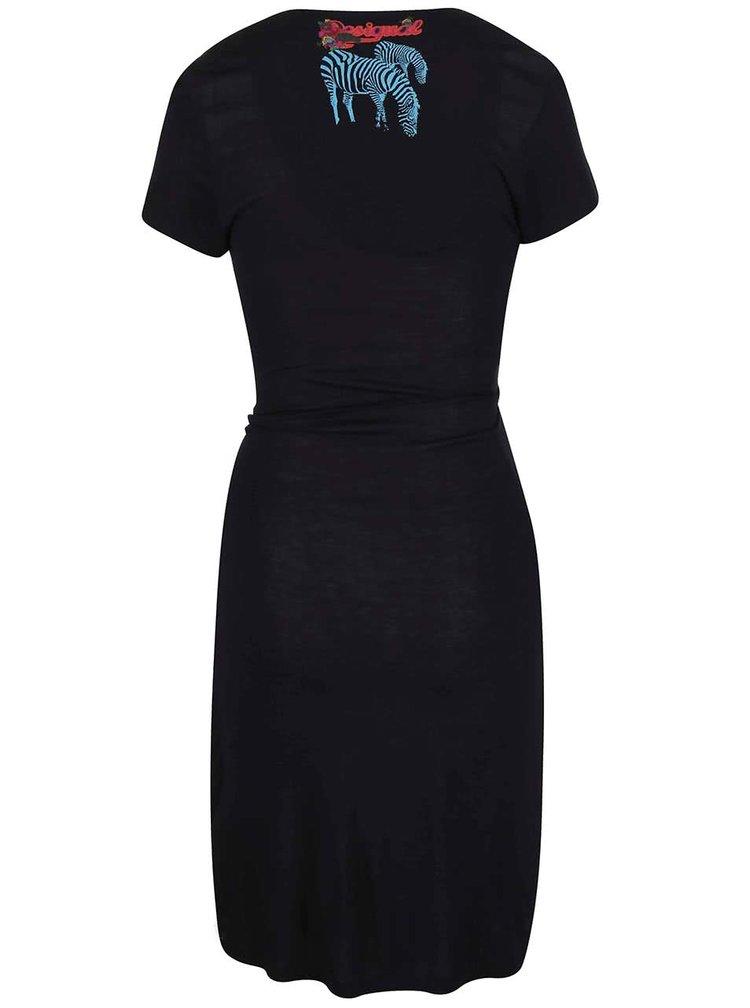 Černé zavinovací šaty Desigual Iris Arc