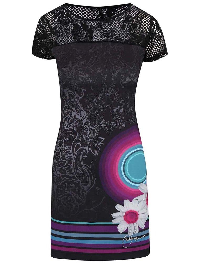 Čierne šaty s háčkovaním na ramenách Desigual Galactic Rep