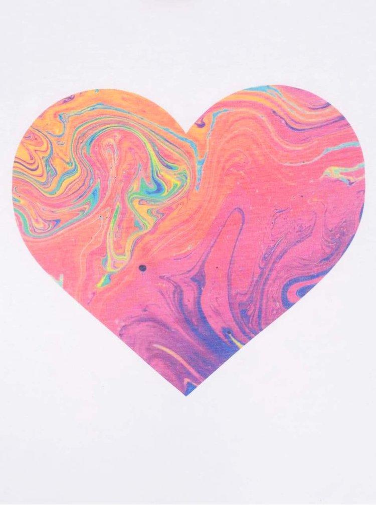Bílé dámské oversize tričko se srdcem ZOOT Originál Rainbow