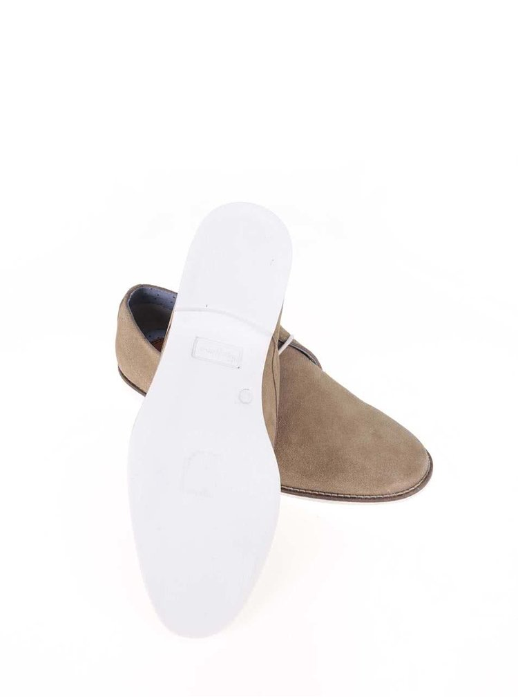 Béžové pánske kožené poltopánky Pepe Jeans Belmont