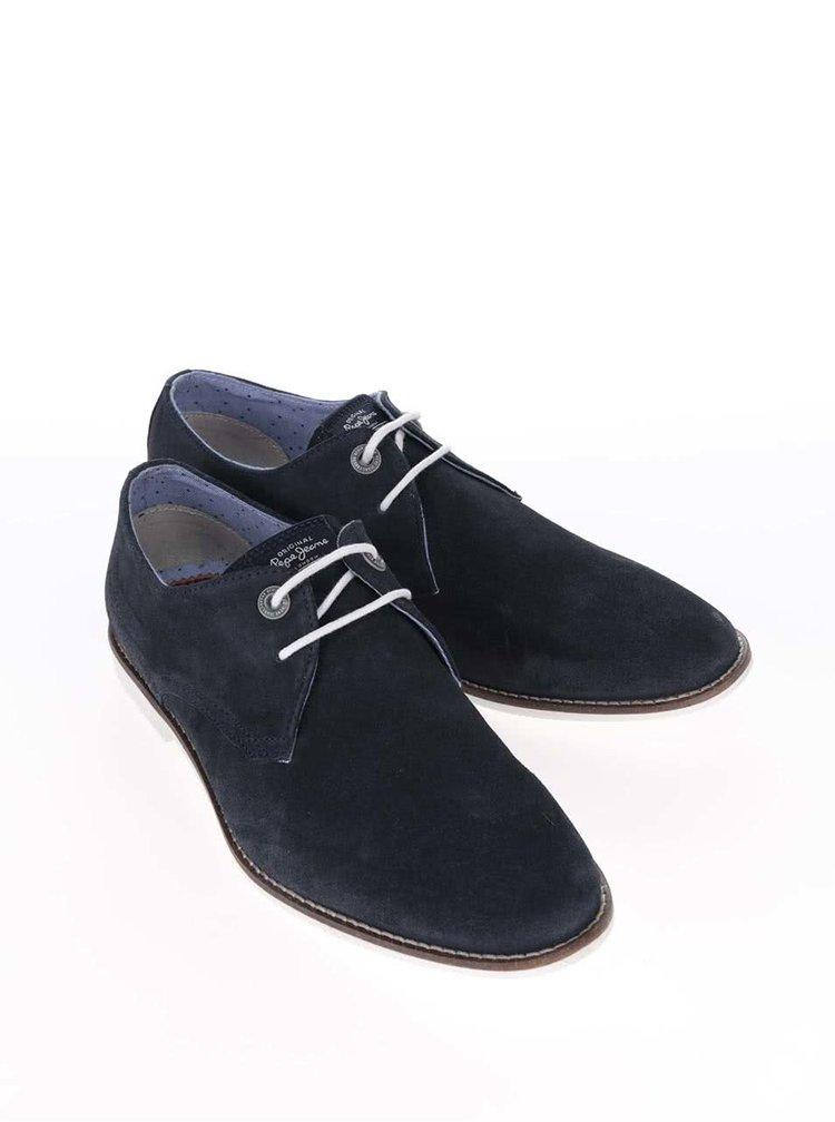 Tmavě modré pánské kožené polobotky Pepe Jeans Belmont