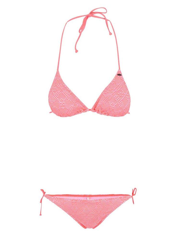 Neonově růžové pruhované plavky O'Neill Structure