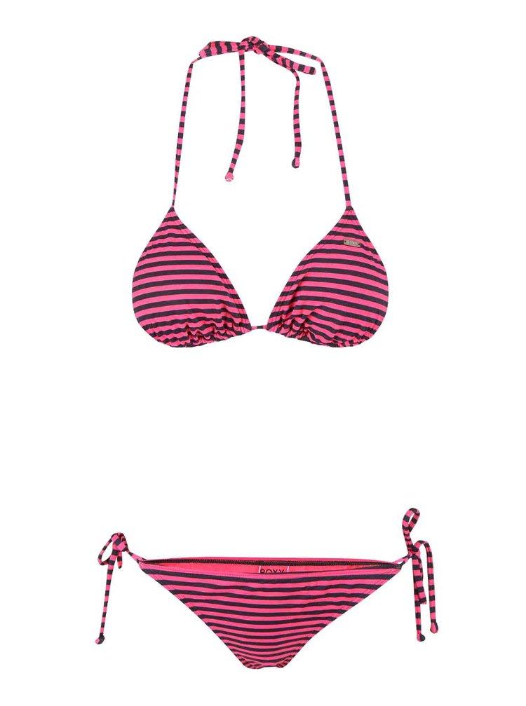 Růžové dvoudílné plavky s proužky Roxy Tiki