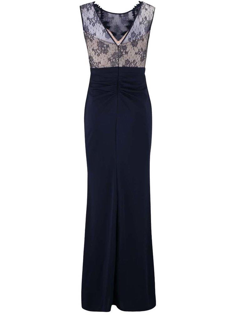 Tmavě modré dlouhé šaty s krajkou Lipsy