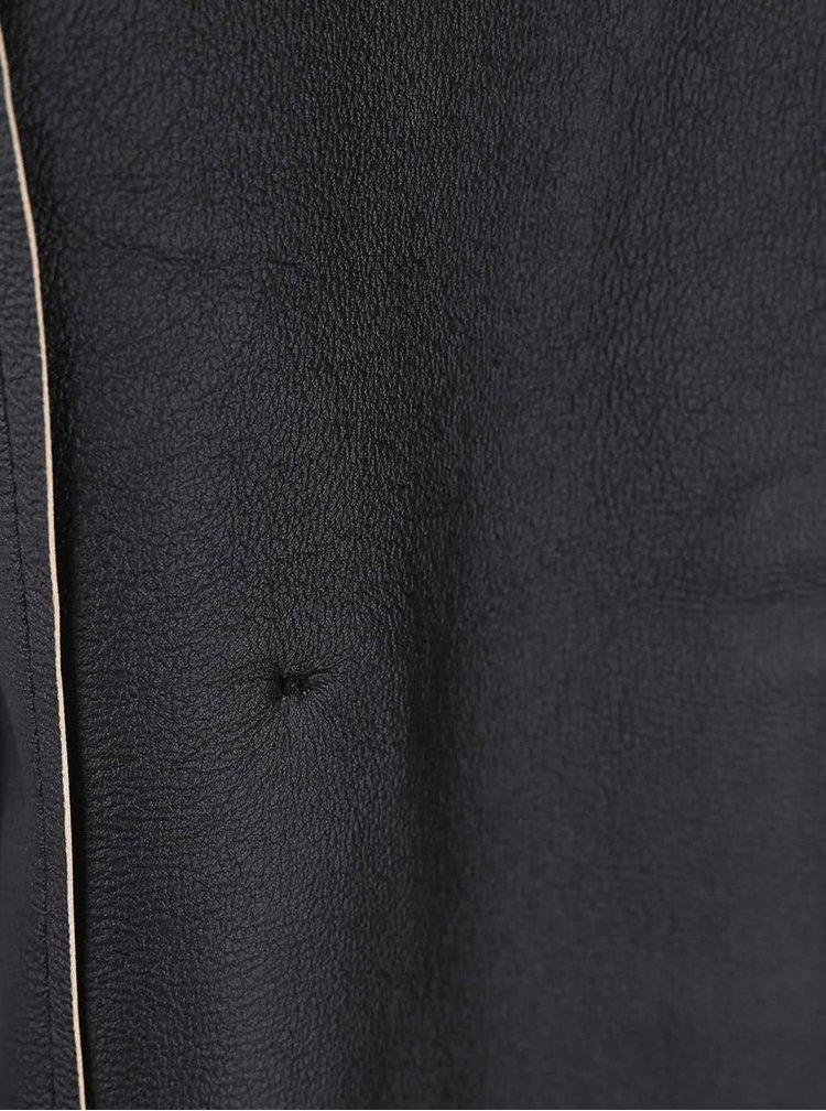 Tmavě modrý kabát s asymetrickým zipem Lipsy