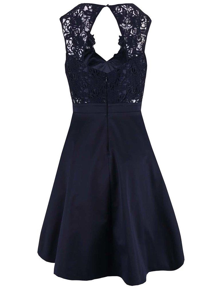 Tmavomodré krátke šaty s ozdobným opaskom Lipsy