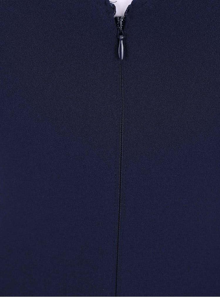Tmavě modré krátké šaty s černou krajkou Lipsy