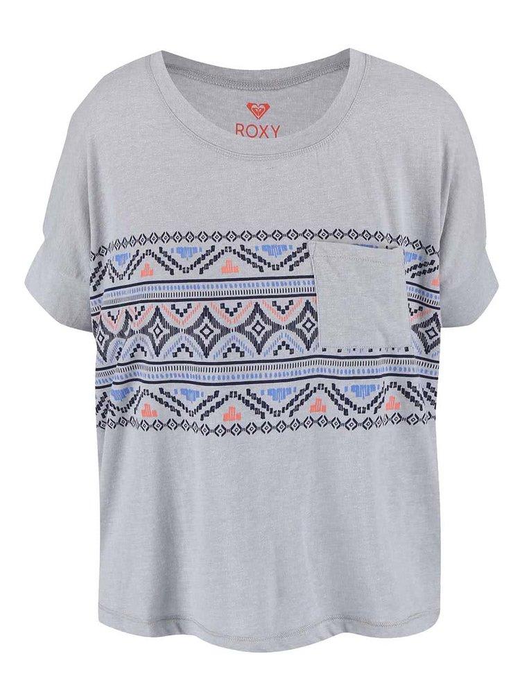 Tricou Roxy gri cu model aztec