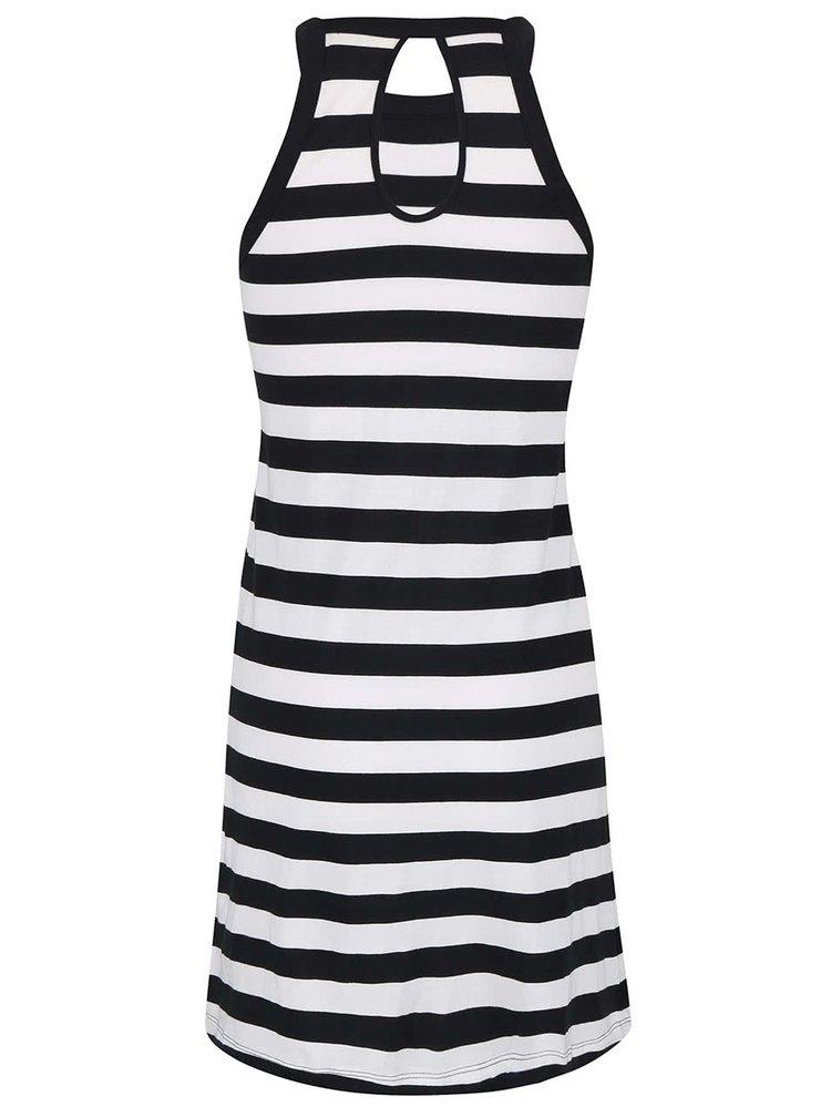 Bielo-čierne pruhované šaty Roxy Stranded
