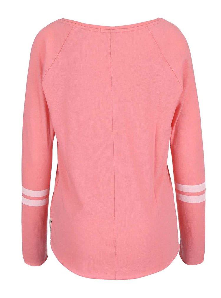 Růžové tričko s pruhy na rukávech Maison Scotch