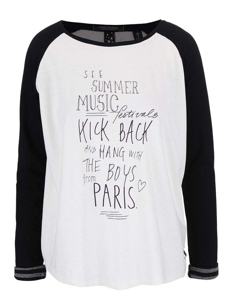 Bílé tričko s černými rukávy a potiskem Maison Scotch