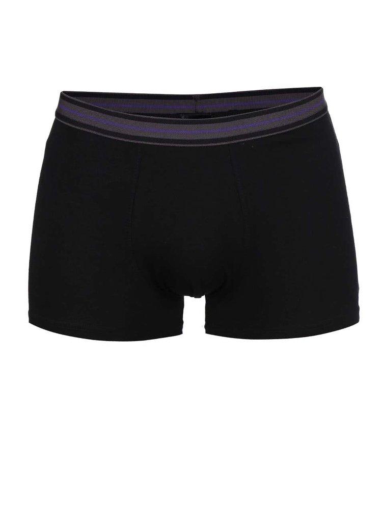 Súprava troch boxeriek v čiernej a fialovej farbe Marginal