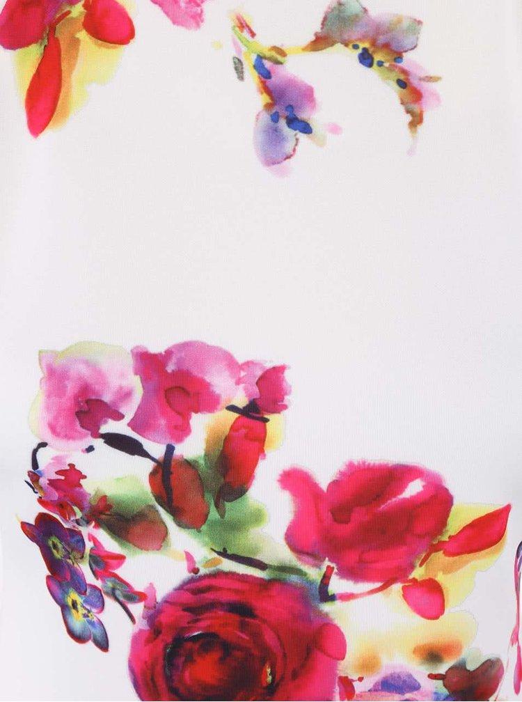 Krémové šaty s ružovou potlačou kvetín AX Paris