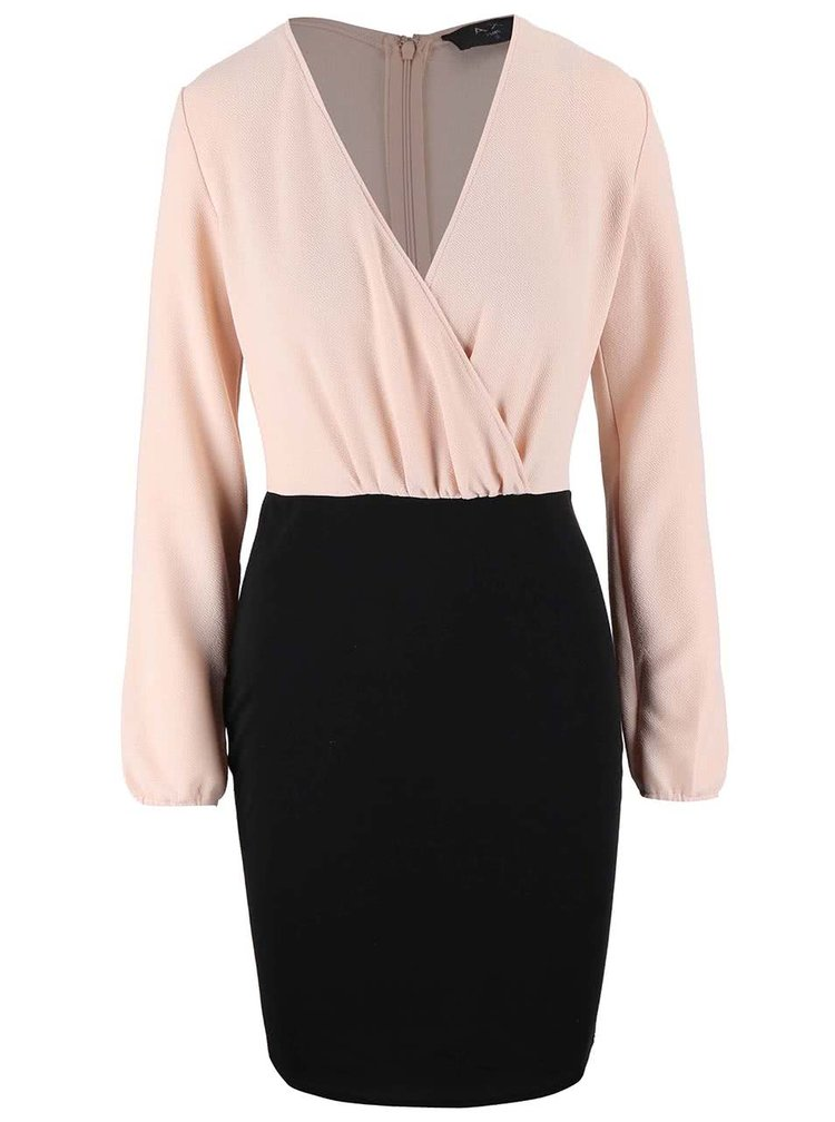 Růžovo-černé šaty s dlouhými rukávy AX Paris