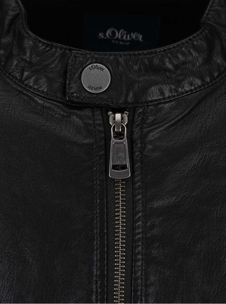 Jacheta s.Oliver neagra din piele sintetica