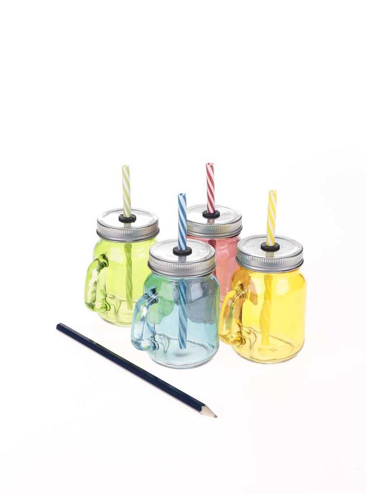 Sada čtyř malých barevných sklenic s brčkem Kitchen Craft
