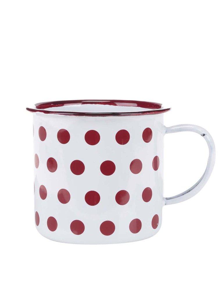 Bílý smaltovaný hrníček s červenými puntíky Kitchen Craft
