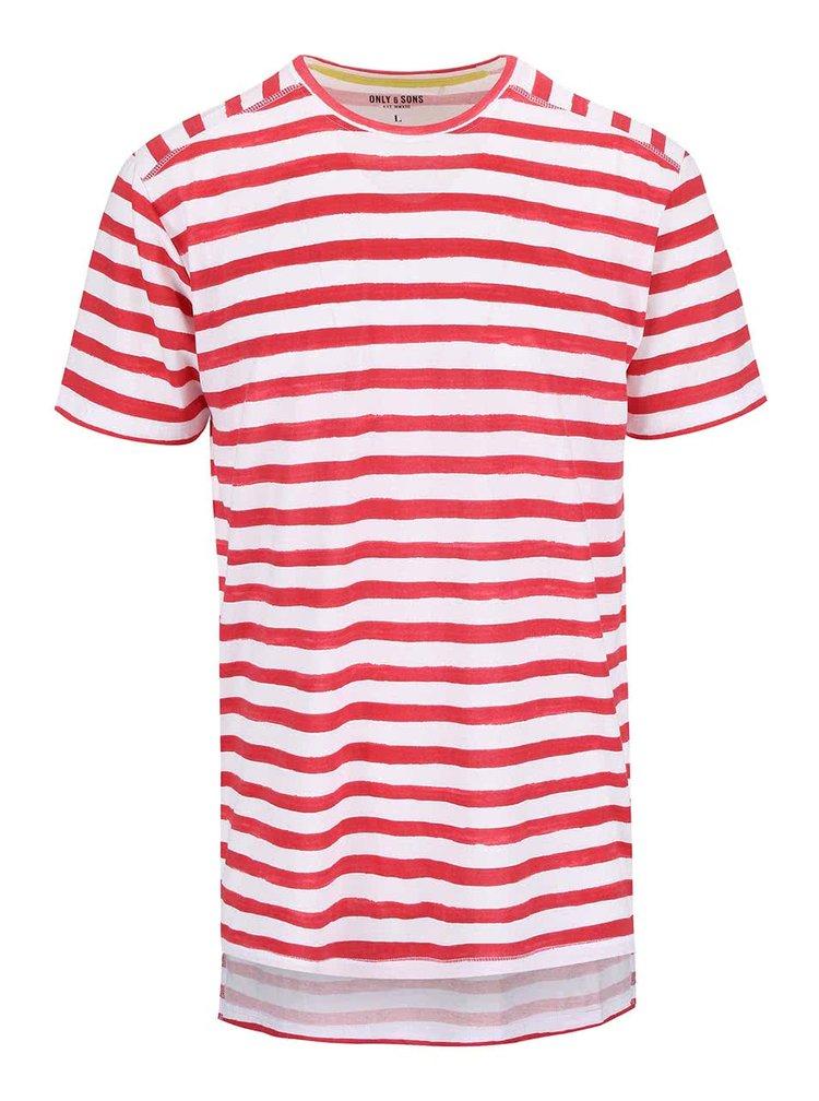 Bielo-červené pruhované tričko ONLY & SONS Seth
