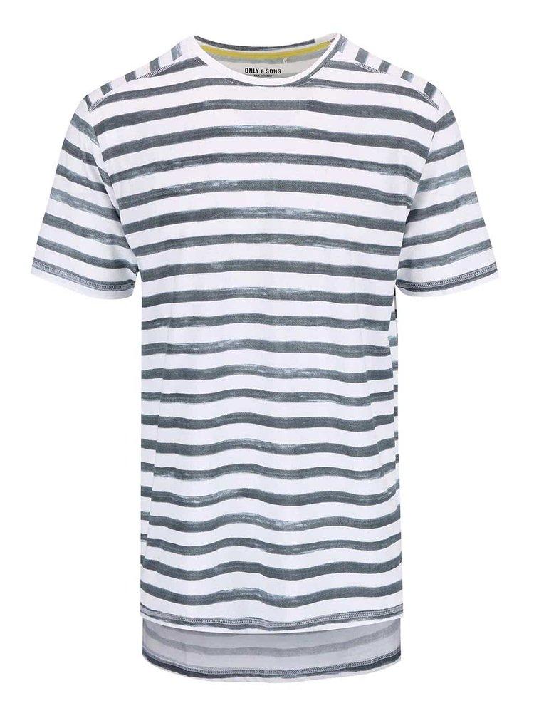 Bílo-modré pruhované triko ONLY & SONS Seth