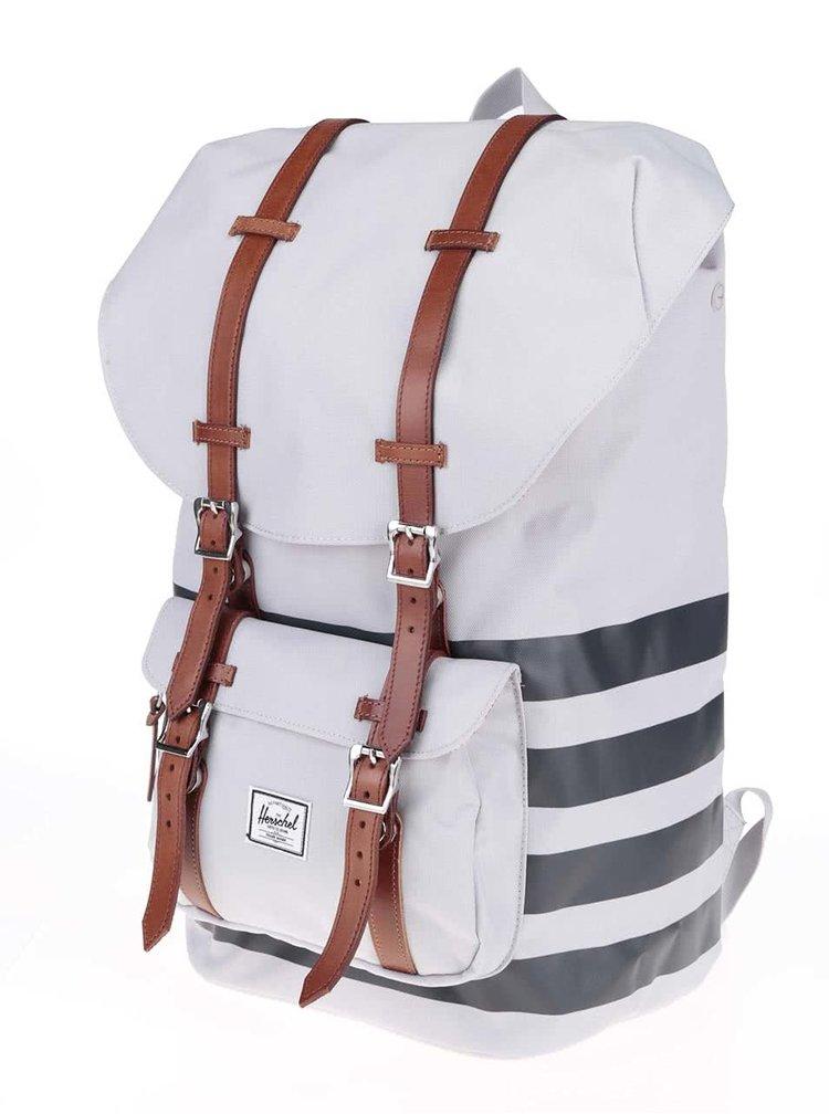 Čierno-sivý batoh s hnedými popruhmi Herschel Little America