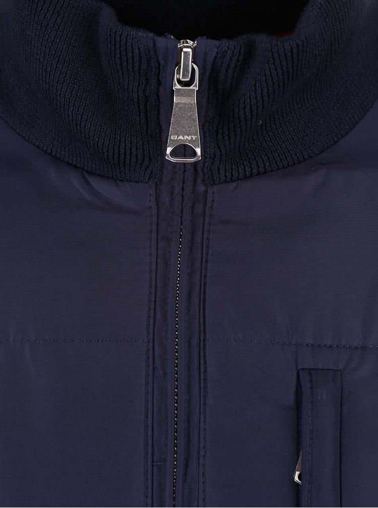 Modrá pánská bunda s žebrovanými rukávy GANT