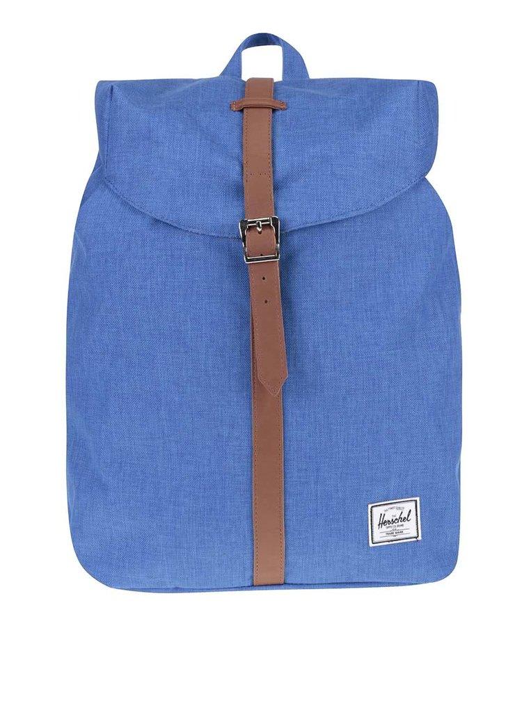 Modrý unisex batoh s hnědým popruhem Herschel Post 16 l