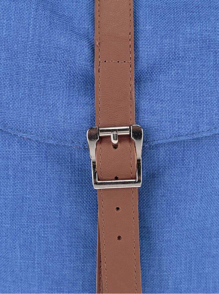 Modrý unsiex batoh s hnedým popruhom Herschel Post 16 l