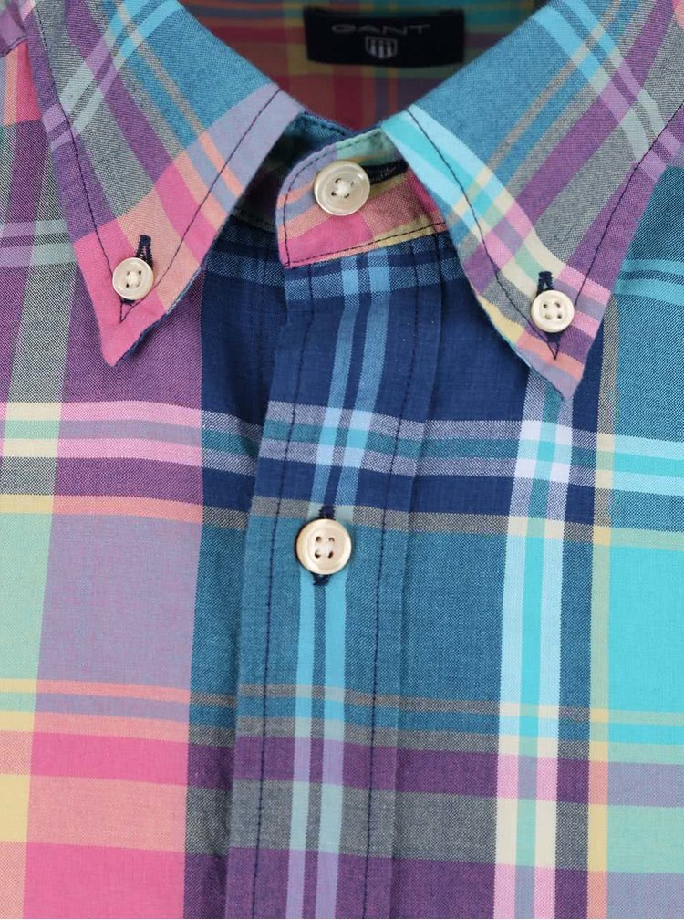 Růžovo-modrá pánská kostkovaná regular fit košile GANT