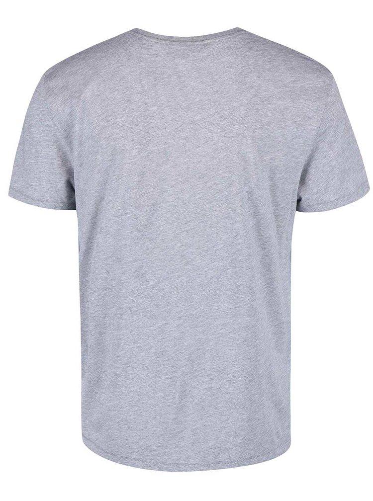 Šedé pánské žíhané triko s potiskem GANT Tonal