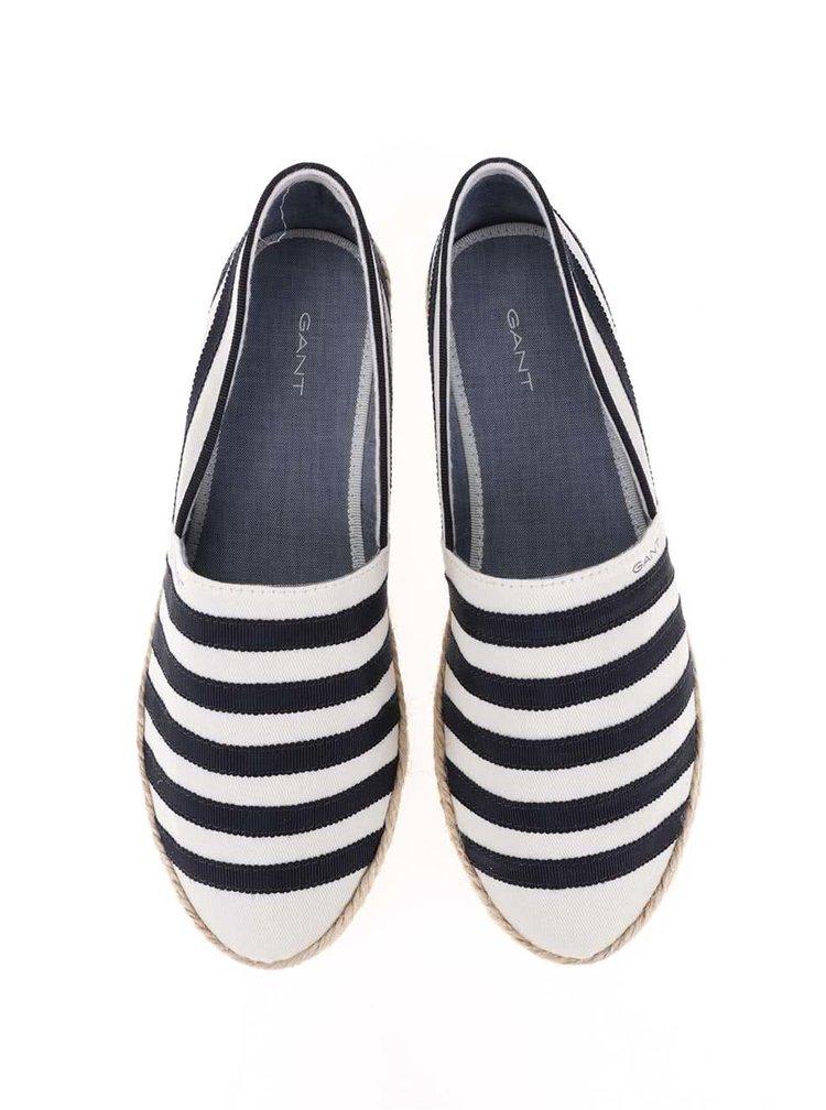 Krémovo-modré dámské pruhované loafers GANT Gina