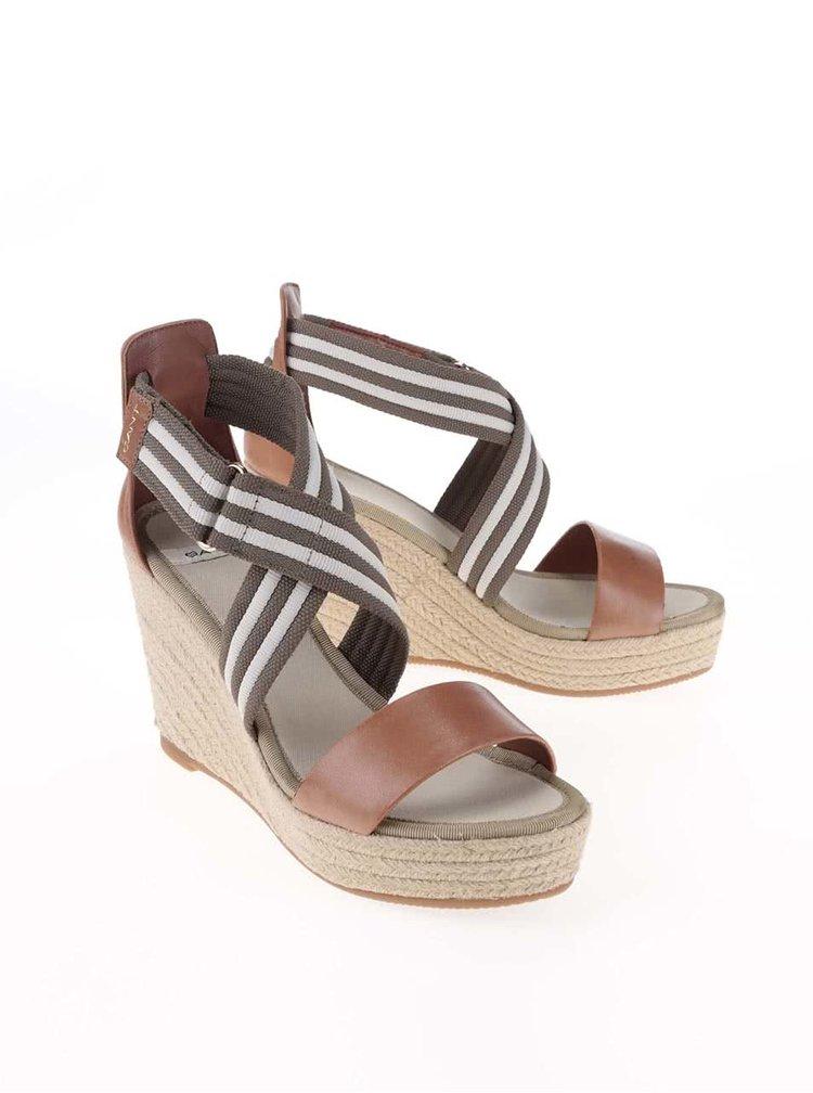 Khaki kožené sandálky na klínku GANT Stella
