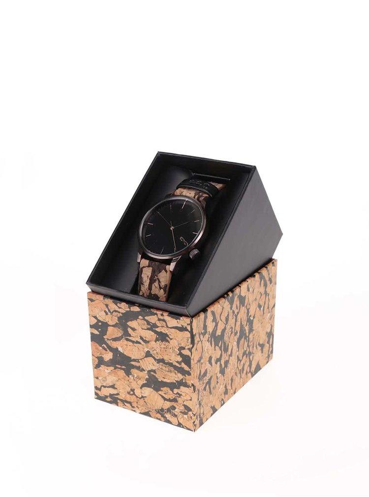 Tmavohnedé pánske hodinky s korkovým remienkom Komono Winston