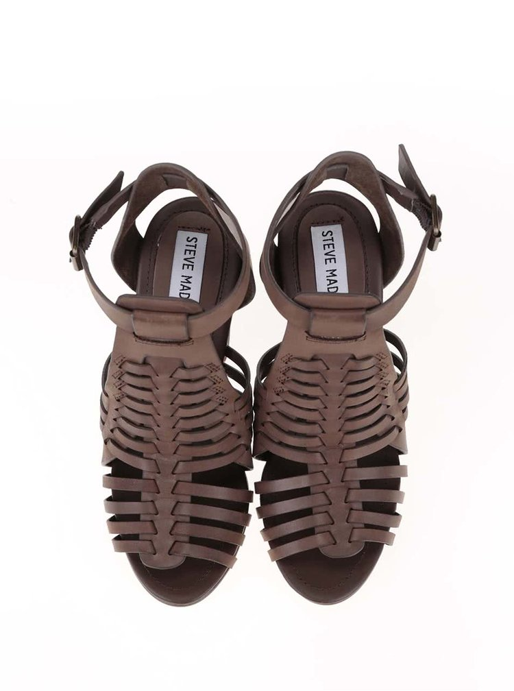 Hnedé kožené dámske sandále na podpätku Steve Madden