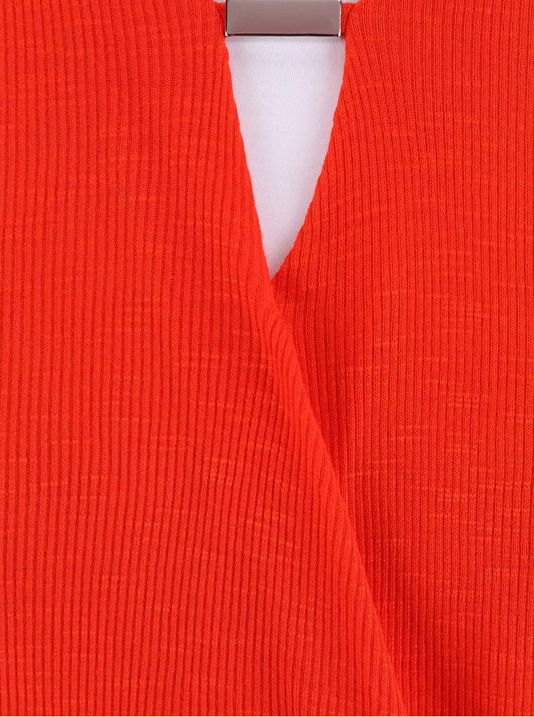 Červený žebrovaný top Dorothy Perkins