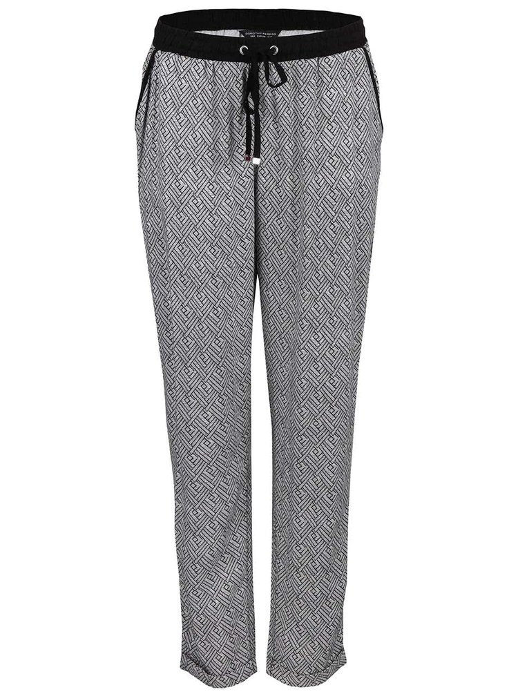 Bílo-černé vzorované kalhoty Dorothy Perkins