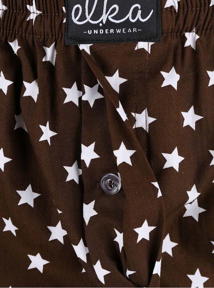 Hnedé pánske trenírky s motívom hviezd El.Ka Underwear