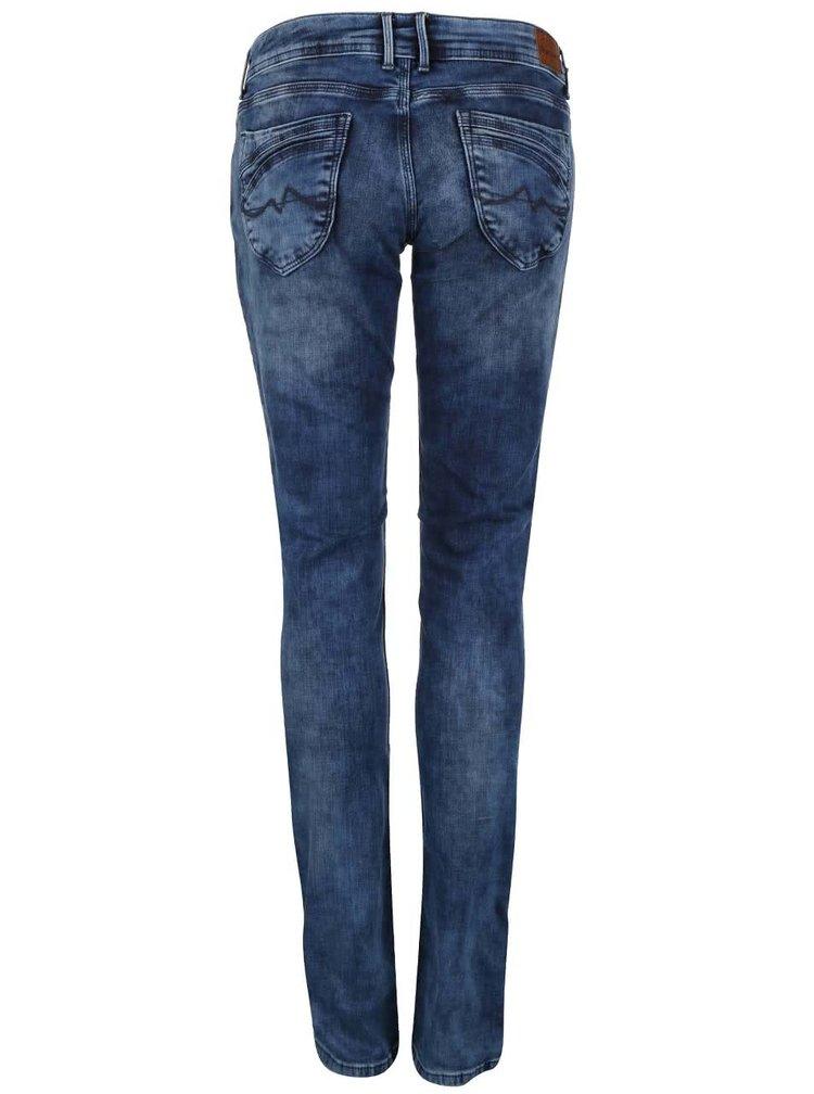 Modré dámske slim fit rifle s nízkym pásom Pepe Jeans Ariel