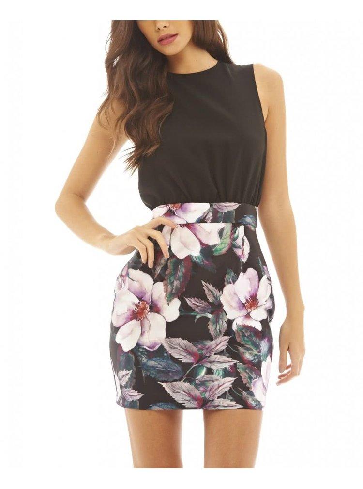 Černé pouzdrové šaty s květinovou sukní AX Paris