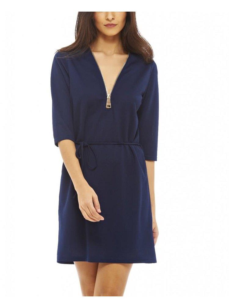 Tmavomodré šaty s ozdobným zipsom AX Paris