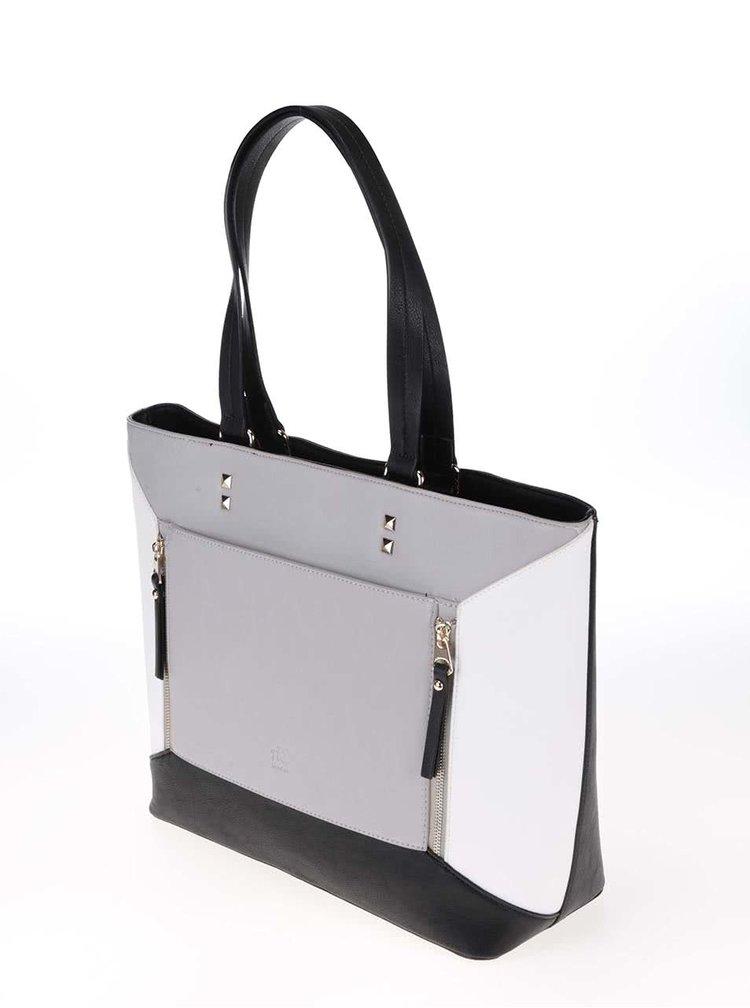 Černo-bílo-šedá velká kabelka Anna Smith