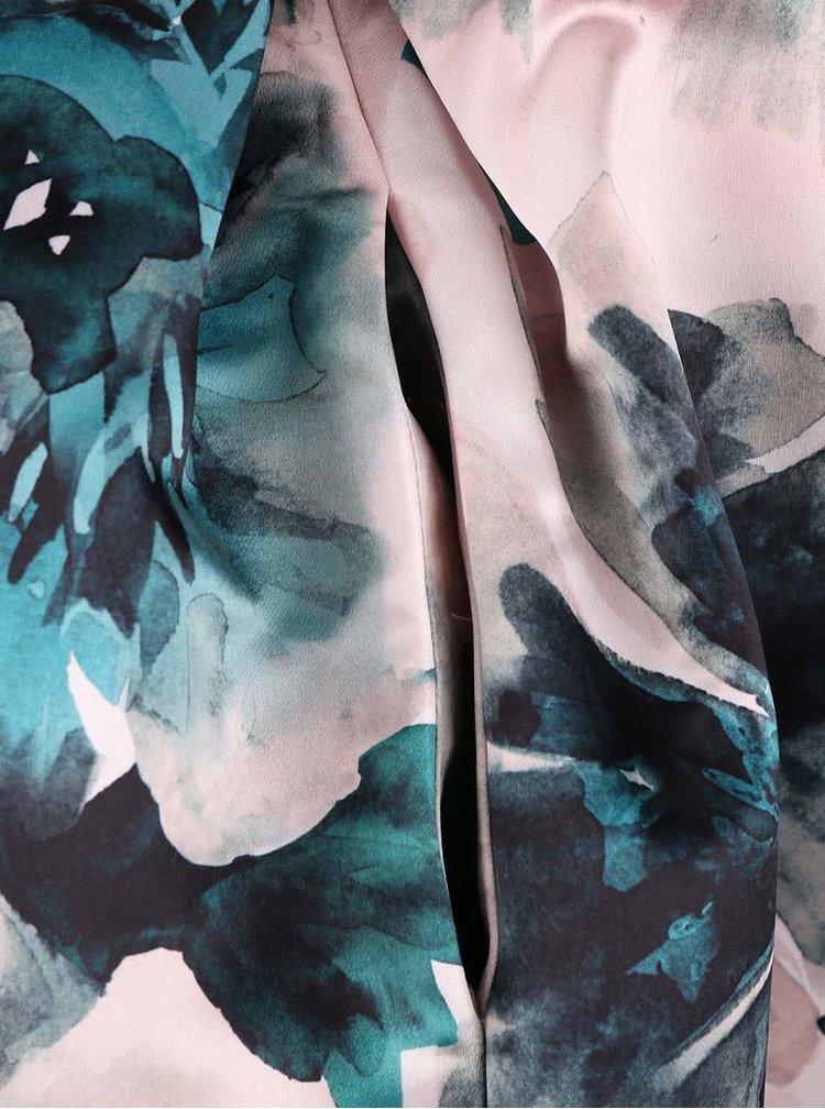 Růžová dlouhá saténová sukně s květy Closet