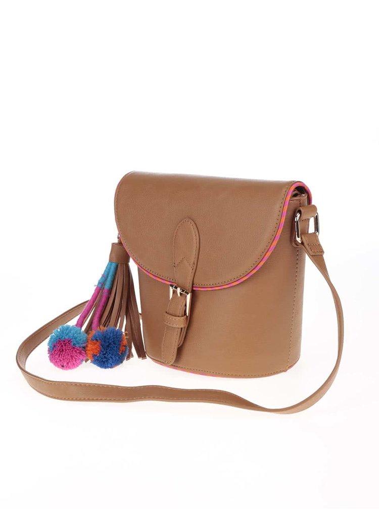 Hnedá crossbody kabelka s brmbolcami Anna Smith