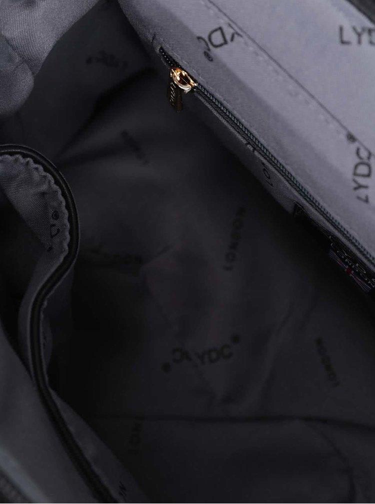 Čierna menšia kabelka s detailmi v zlatej farbe LYDC