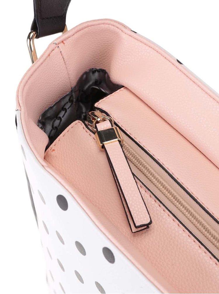 Ružovo-čierno-biely bodkovaný shopper Anna Smith