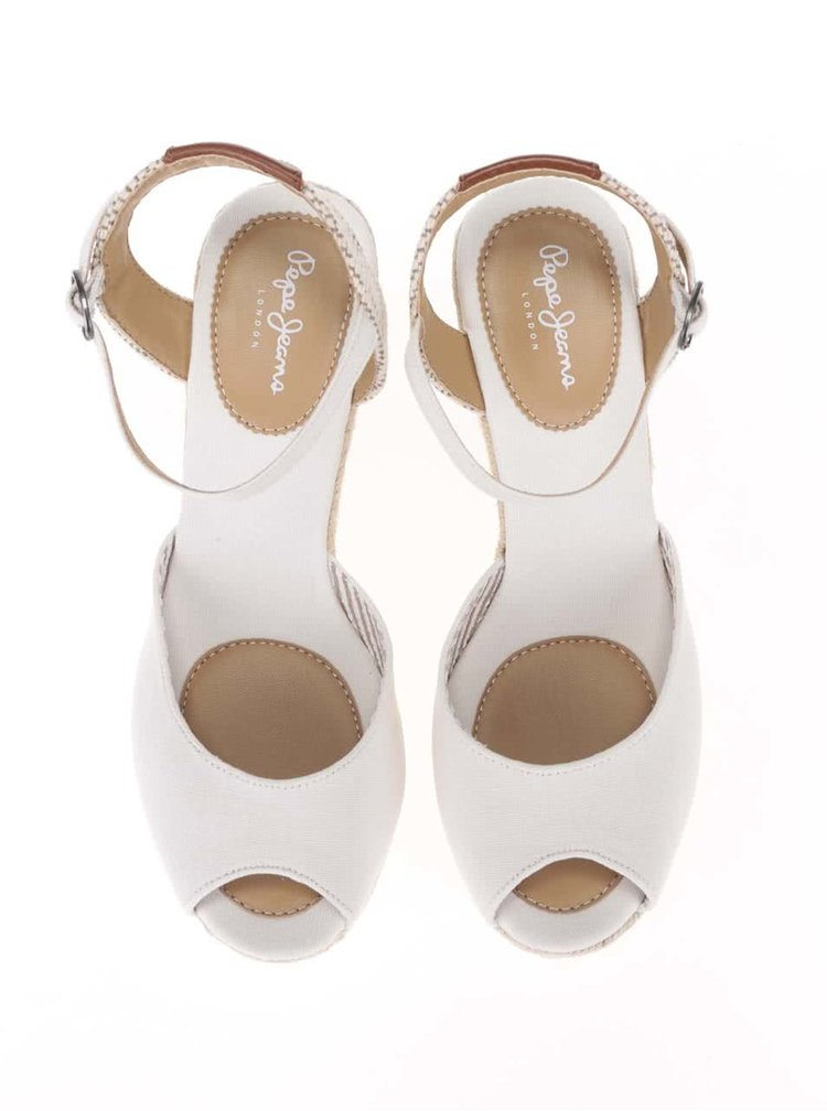 Sandale Pepe Jeans albe, cu platforma